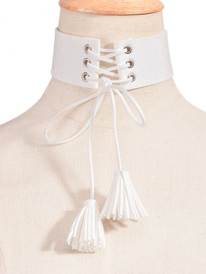 Tassel Faux Leather Velvet Choker Necklace - White