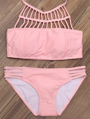 Lattice High Neck Bikini Top And Bottoms - Pink