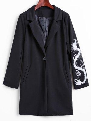 Lapel Collar Dragon Embroidered Coat - Black