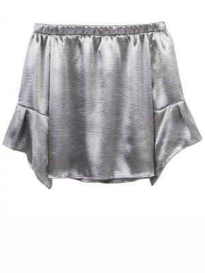 Off The Shoulder Velvet Smcok Top - Silver