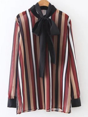 Colorful Striped Bow Tie Blouse - Stripe