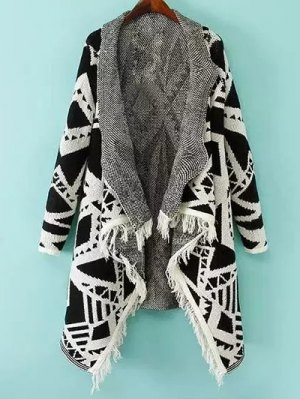 Geometric Pattern Shawl Collar Cardigan - White And Black