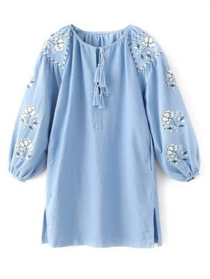 Lantern Sleeve Embroidered Tunic Blouse - Light Blue