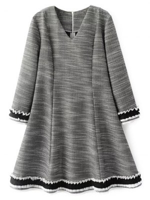 Frill Trim Long Sleeve A Line Dress - Gray