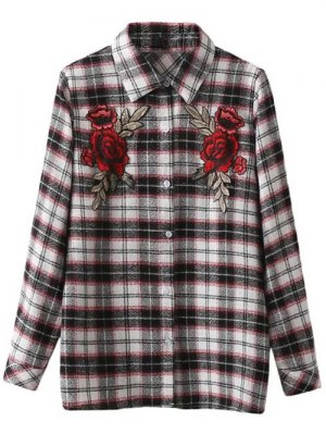 Floral Embroidered Tartan Shirt - Checked