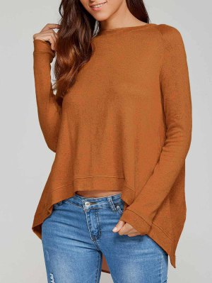 High Low Back Slit Knitwear - Camel