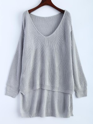 High Low Oversized Pullover Sweater - Gray