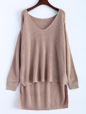 High Low Oversized Pullover Sweater - Khaki
