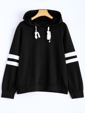 Stripes Pullover Hooded Sweatshirt - Black