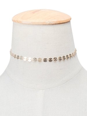 Copper Sequins Choker Necklace - Golden