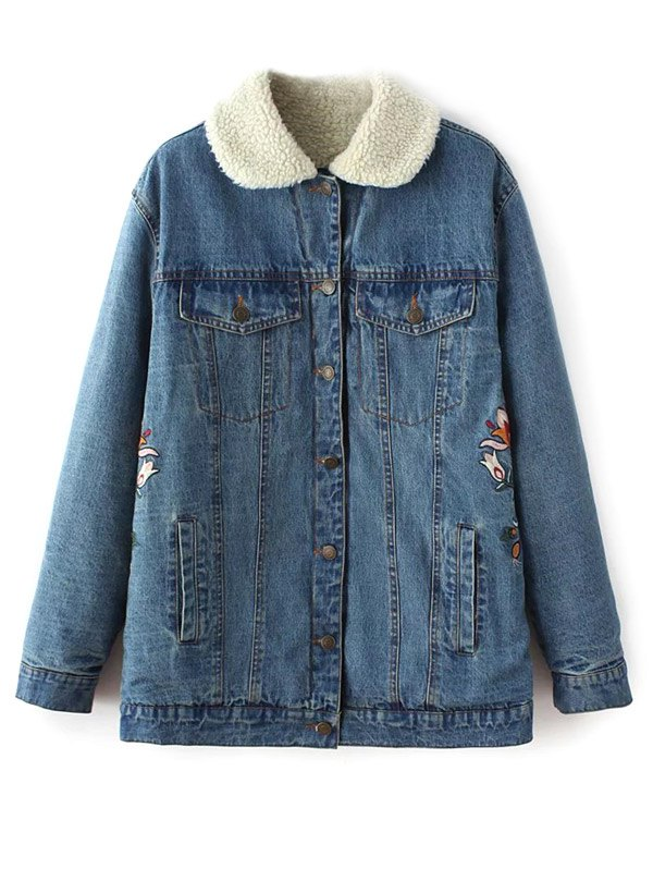 Fleece Lining Sherpa Denim Jacket