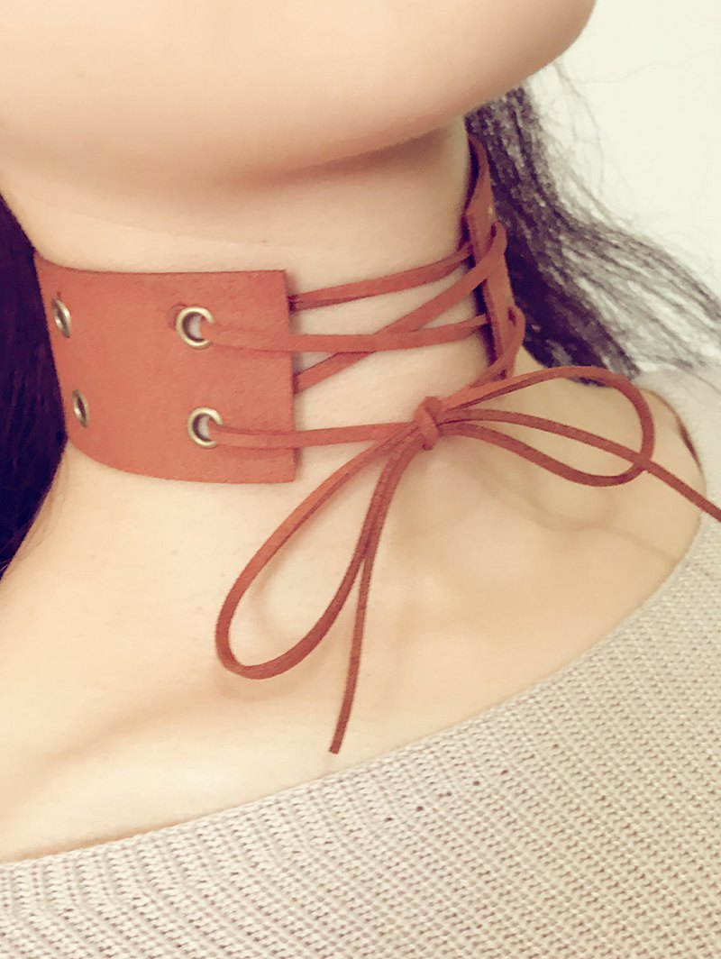 Velvet Bowknot Faux Leather Choker