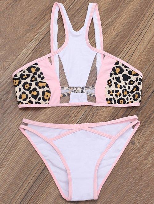 Leopard Mesh Panelled Bikini Set