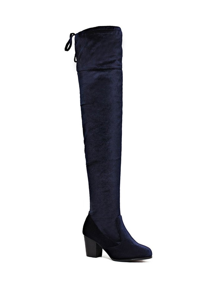 Lace Up Chunky Heel Thigh Boots