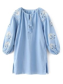 Lantern Sleeve Embroidered Tunic Blouse