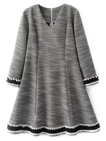 Frill Trim Long Sleeve A Line Dress