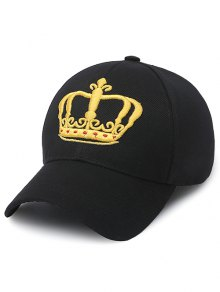 Embroidery Crown Baseball Cap - Black