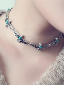 Faux Turquoise Peace Dove Choker Necklace