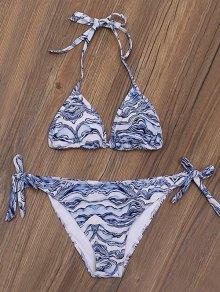 Ripple Print Tie Side Plunge Bikini Set