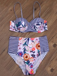 Floral Stripe Print High Rise Bikini
