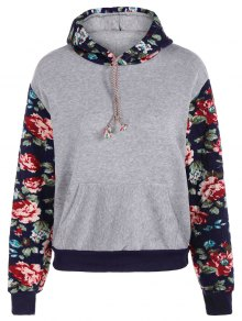 Floral Spliced Long Sleeve Pullover Hoodie - Light Gray Xl