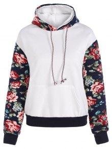 Floral Spliced Long Sleeve Pullover Hoodie