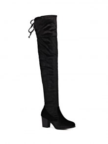 Lace Up Chunky Heel Zip Thigh Boots - Black
