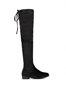 Buy Tie Zip Flat Heel Thigh Boots 39 BLACK
