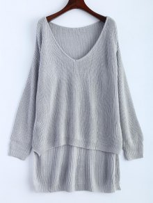 Buy High Low Oversized Pullover Sweater - GRAY ONE SIZE