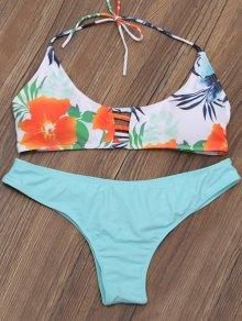 Lattice Cut Out Floral Bikini Set
