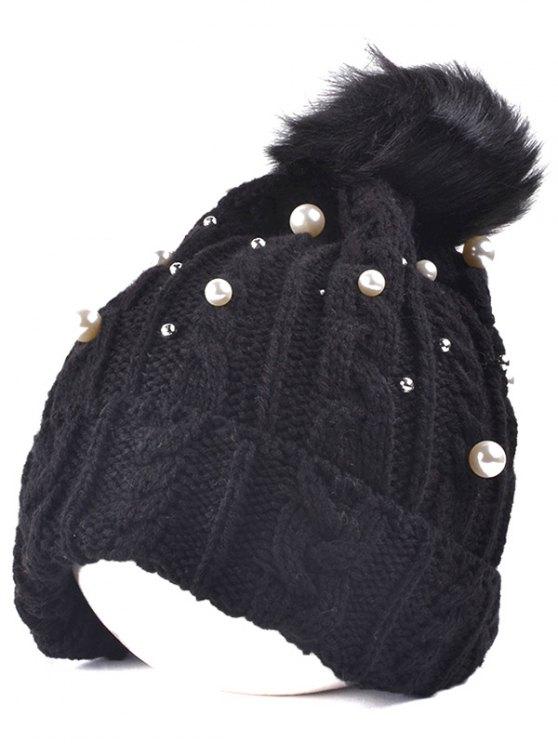 Perlas de imitación de punto de bola Beanie - Negro
