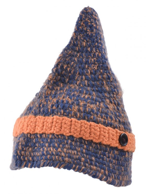 Button Pointed Top Knit Beanie - DARKSALMON  Mobile