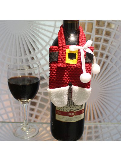 Christmas Santa Pants Shape Tableware Holder Bag - RED WITH WHITE  Mobile