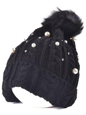Faux Pearl Knit Ball Beanie - Black