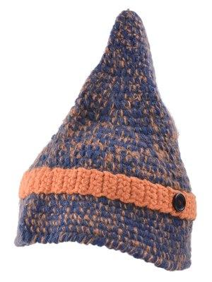 Button Pointed Top Knit Beanie - Darksalmon
