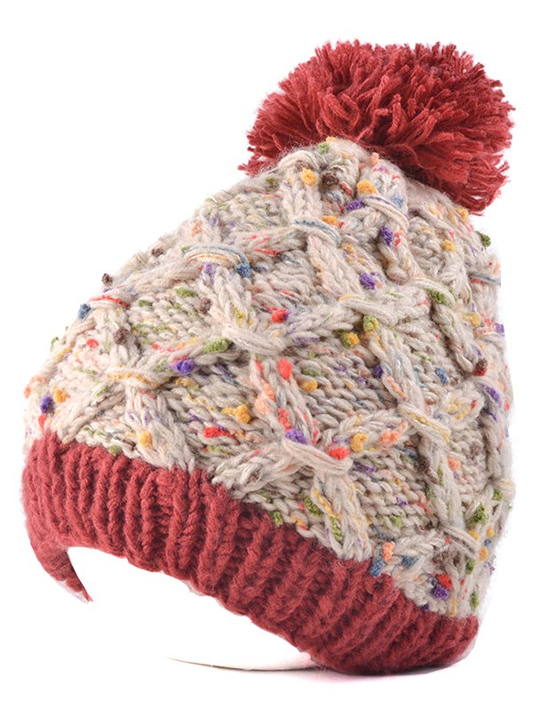 Outdoor Latticed Knit Ball Top Beanie