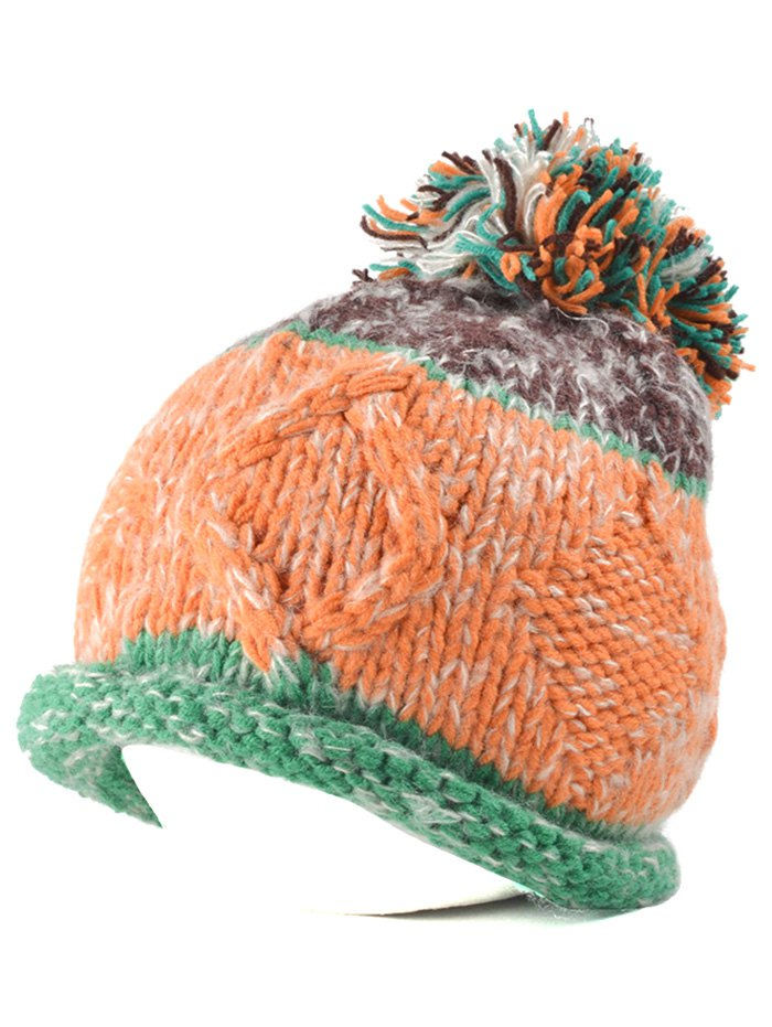 Knit Ball Rolled Edge Beanie