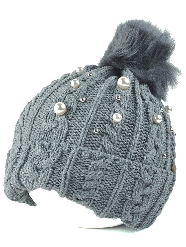 Flanging Faux Pearl Knit Ball Beanie