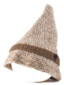 Button Pointed Top Knit Beanie - Beige