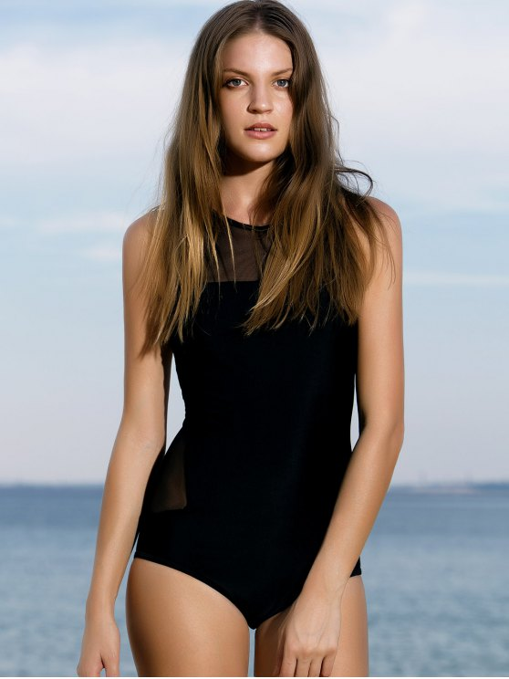 affordable High-Neck See-Through One-Piece Swimwear - BLACK L