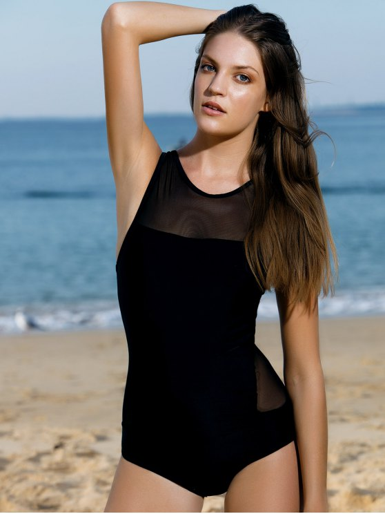 High-Neck See-Through One-Piece Swimwear - BLACK S Mobile