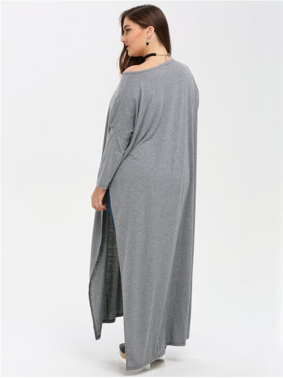 Plus Size High Slit Maxi Dress - GRAY 3XL Mobile