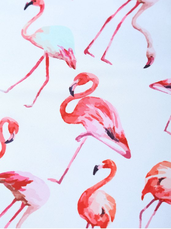 Flamingos Print Handkerchief Scarf - WHITE  Mobile