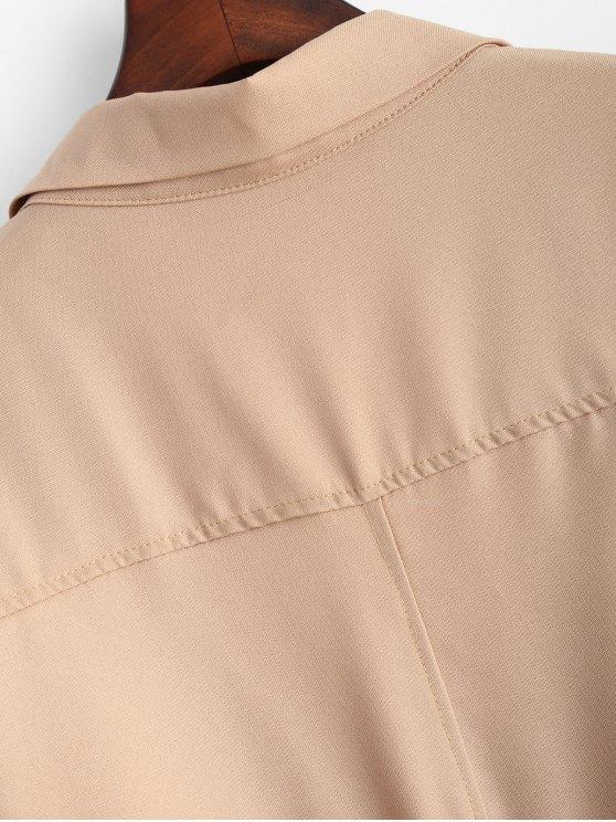 Plus Size Rolled Sleeve Draped Trench Coat - KHAKI 3XL Mobile