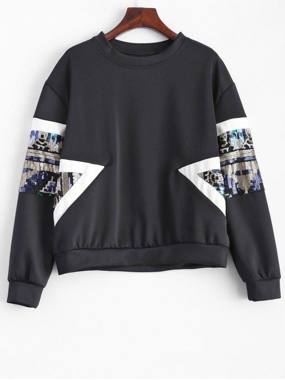 Sweat-shirt à paillettes ras du cou - Noir S