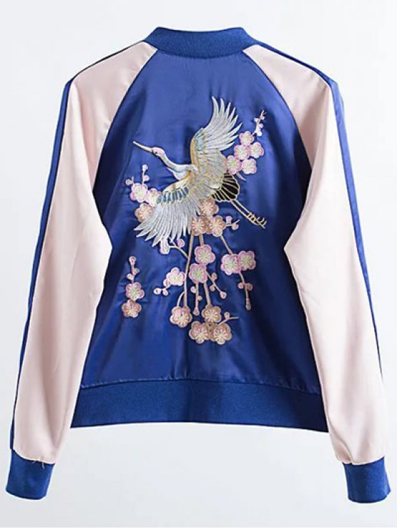 Two Tone Embroidered Satin Bomber Jacket - SAPPHIRE BLUE M Mobile
