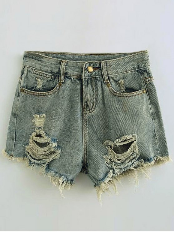 trendy Ripped Denim Hot Pants - LIGHT BLUE S