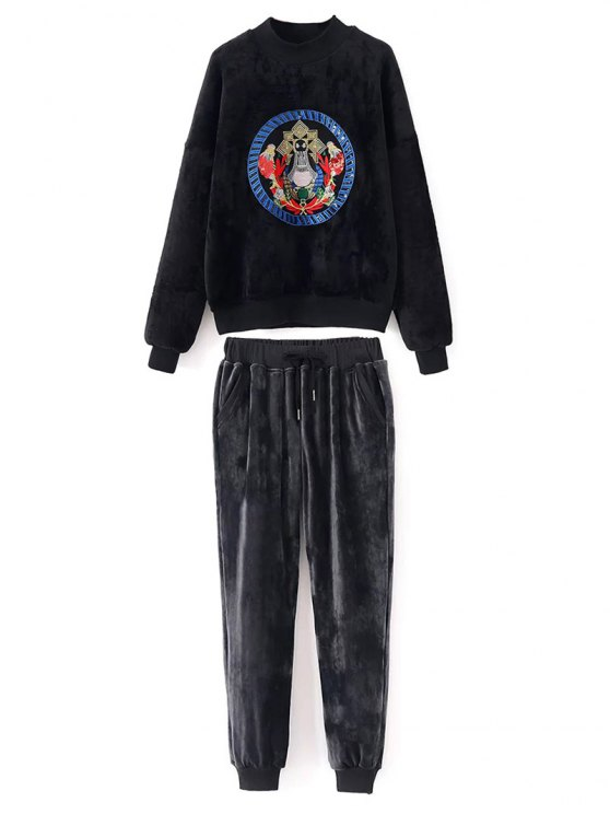 chic Embroidered Velvet Sweatshirt and Pants - BLACK L