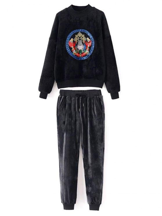Bordado de terciopelo con capucha y pantalones - Negro L