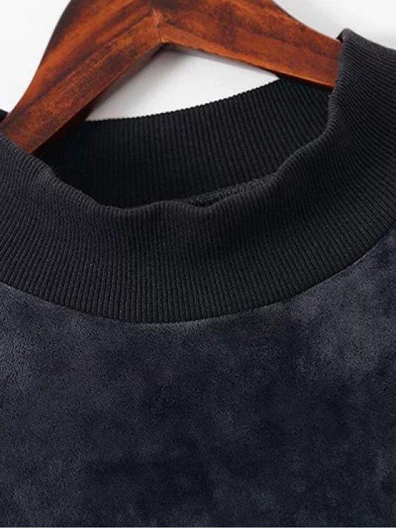 Embroidered Velvet Sweatshirt and Pants - BLACK L Mobile